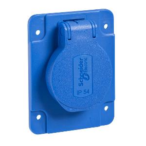 Socle de prise NF 65x85mm - 2P+T 10-16 A - IP54 - connex. arr. - bleu - PRATIKA SCHNEIDER