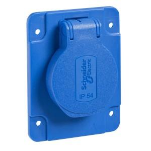 Socle de prise Schuko 65x85mm - 2P+T 10-16 A IP54 connex. arr. - bleu - PRATIKA SCHNEIDER