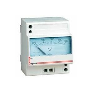 Voltmètre analogique modulaire échelle 0V à 500V - 4 modules LEGRAND