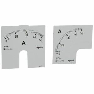 Cadrans de mesure pour ampèremètre analogique 0A à 50A - 1 cadran pour fût rond et 1 cadran pour fût carré LEGRAND