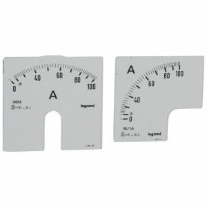 Cadrans de mesure pour ampèremètre analogique 0A à 100A - 1 cadran pour fût rond et 1 cadran pour fût carré LEGRAND