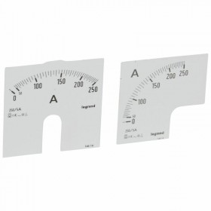 Cadrans de mesure pour ampèremètre analogique 0A à 250A - 1 cadran pour fût rond et 1 cadran pour fût carré LEGRAND
