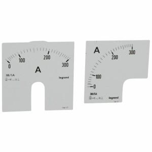 Cadrans de mesure pour ampèremètre analogique 0A à 300A - 1 cadran pour fût rond et 1 cadran pour fût carré LEGRAND