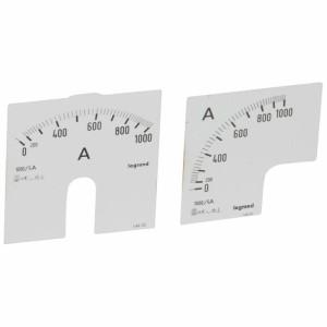 Cadrans de mesure pour ampèremètre analogique 0A à 1000A - 1 cadran pour fût rond et 1 cadran pour fût carré LEGRAND