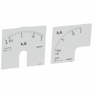Cadrans de mesure pour ampèremètre analogique 0A à 2000A - 1 cadran pour fût rond et 1 cadran pour fût carré LEGRAND