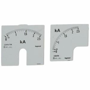 Cadrans de mesure pour ampèremètre analogique 0A à 2500A - 1 cadran pour fût rond et 1 cadran pour fût carré LEGRAND
