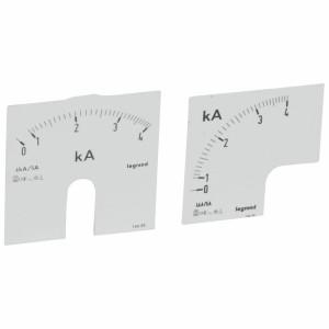 Cadrans de mesure pour ampèremètre analogique 0A à 1250A - 1 cadran pour fût rond et 1 cadran pour fût carré LEGRAND