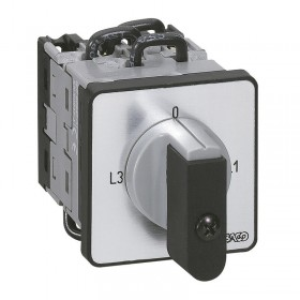 Commutateur à cames de mesure ampèremètre 3 TI avec point commun PR12 - 6 contacts - fixation par vis sur porte LEGRAND