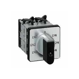 Commutateur à cames de mesure voltmètre sans neutre PR12 - 4 contacts - fixation par vis sur porte LEGRAND