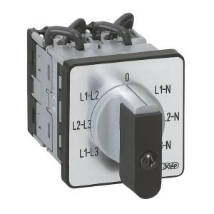 Commutateur à cames de mesure voltmètre avec neutre PR12 - 6 contacts - fixation par vis sur porte LEGRAND