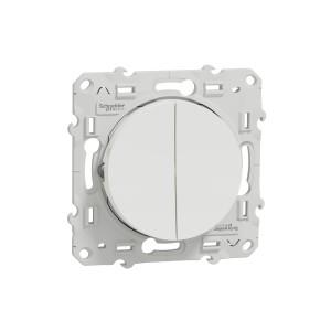 Poussoir blanc 2 boutons + fonction stop pour volets-roulants ODACE SCHNEIDER