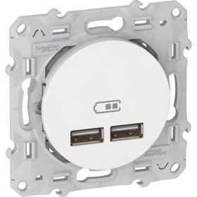 Prise double chargeur USB 2.1 A - blanc - ODACE SCHNEIDER