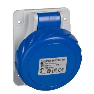 Socle de prise industrielle coudée 16 A - 2P+T - 200-250 V CA - IP67 - PRATIKA SCHNEIDER