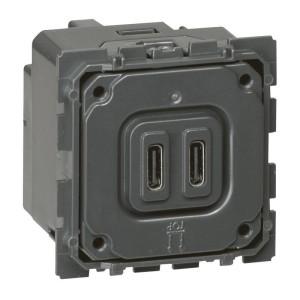 Chargeur double USB Céliane Type-C 3A 15W LEGRAND