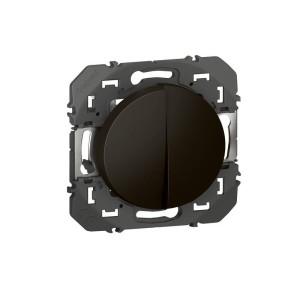 Double interrupteur ou va-et-vient 10AX 250V~ noir - DOOXIE LEGRAND