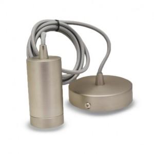 Suspension douille E27 métal M009 cylindre mat nickel + câble 2 m VISION EL