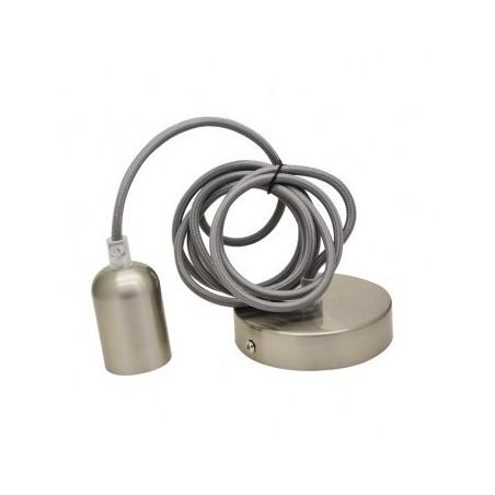 Suspension douille E27 métal M006 cylindre rond brossé nickel - Câble 2m VISION EL