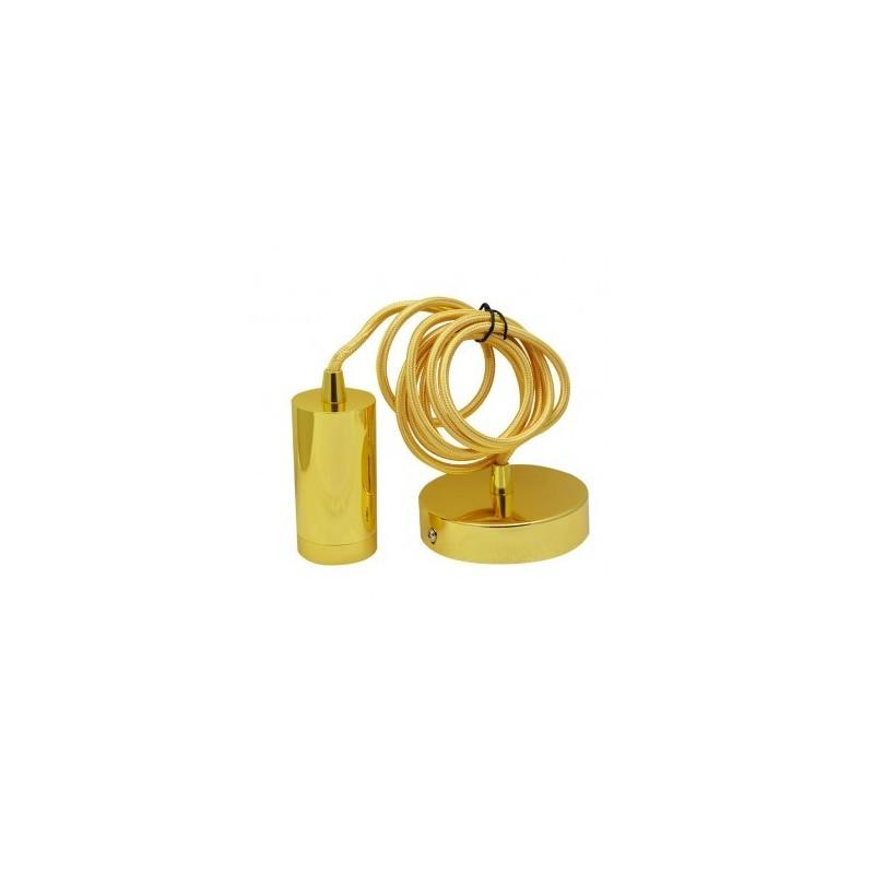 Suspension douille E27 métal M009 cylindre or - Câble 2m VISION EL