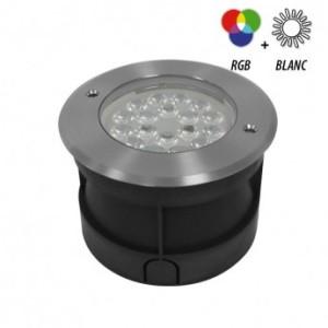 Spot LED encastrable sol rond 9W RGB+W Inox 304 VISION EL