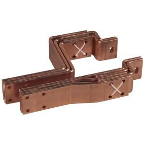 Barres cuivre pliées percées pour raccordement aval DMX³ version fixe taille 1 sur jeu de barres alu 2 barres par pôle LEGRAND