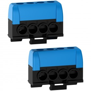 Bornier neutre - 2 x bleu - 4 trous 16mm² Resi9 - Lot de 2 SCHNEIDER