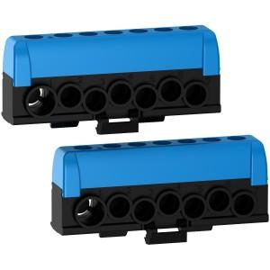 Borniers neutre - 2 x bleu - 6 trous 16mm² - 1 trou 35mm² Resi9 - Lot de 2 SCHNEIDER