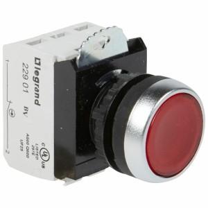 Bouton lumineux à impulsion affleurant IP69 Osmoz complet - rouge - 230V~ LEGRAND