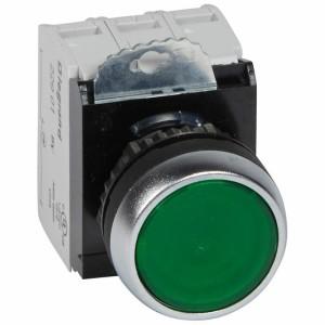 Bouton lumineux à impulsion affleurant IP69 Osmoz complet - vert - 230V~ LEGRAND