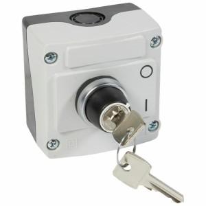 Boîte à bouton équipée Osmoz avec bouton tournant à clé n°455 2 positions - avec couvercle gris LEGRAND