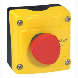 Boîte à bouton équipée Osmoz avec coup de poing coupure d'urgence rouge pousser-tourner Ø40 - avec couvercle jaune LEGRAND