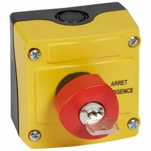 Boîte à bouton équipée Osmoz avec coup de poing d'arrêt d'urgence rouge à clé n°455 Ø40 - avec couvercle jaune LEGRAND