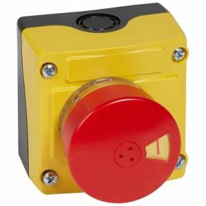 Boîte à bouton équipée Osmoz avec coup de poing d'arrêt d'urgence rouge Ø54 - avec couvercle jaune LEGRAND