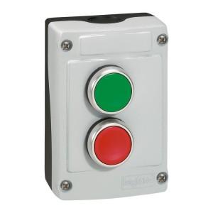 Boîte à bouton équipée Osmoz avec 2 boutons à impulsion vert et rouge - avec couvercle gris LEGRAND