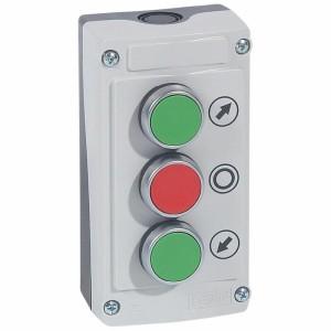 Boîte à bouton équipée Osmoz avec 3 boutons à impulsion (2 boutons vert et 1 bouton rouge) - avec couvercle gris LEGRAND