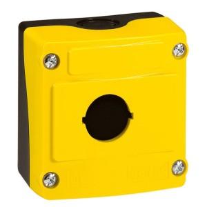 Boîte à boutons vide Osmoz 1 trou - couvercle jaune LEGRAND
