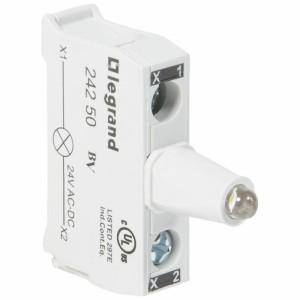 Bloc lumineux LEDs pour boîte à boutons - raccordement à vis - 12V à 24V alternatif ou continu - blanc LEGRAND