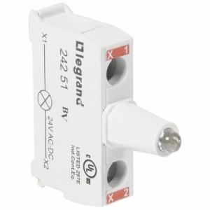 Bloc lumineux LEDs pour boîte à boutons - raccordement à vis - 12V à 24V alternatif ou continu - rouge LEGRAND