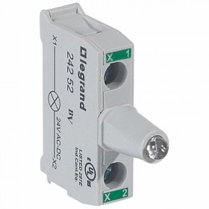 Bloc lumineux LEDs pour boîte à boutons - raccordement à vis - 12V à 24V alternatif ou continu - vert LEGRAND