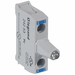 Bloc lumineux LEDs pour boîte à boutons - raccordement à vis - 12V à 24V alternatif ou continu - bleu LEGRAND