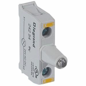 Bloc lumineux LEDs pour boîte à boutons - raccordement à vis - 12V à 24V alternatif ou continu - jaune LEGRAND