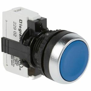 Bouton non lumineux à impulsion affleurant IP69 Osmoz complet - bleu LEGRAND