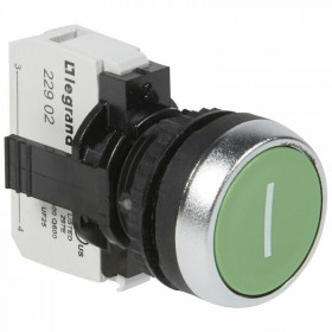 Bouton non lumineux à impulsion affleurant IP69 Osmoz complet - vert marqué I LEGRAND