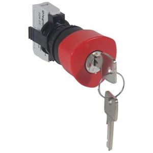 Coup de poing à accrochage non lumineux Osmoz complet IP69 Ø40 à clé n°455 - rouge LEGRAND