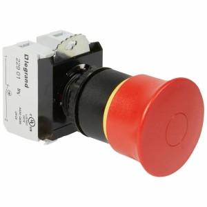 Coup de poing à accrochage non lumineux Osmoz complet IP69 Ø40 EN 418 - pousser-tirer LEGRAND