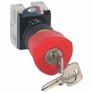 Coup de poing à accrochage non lumineux Osmoz complet IP69 Ø40 EN 418 à clé - rouge LEGRAND