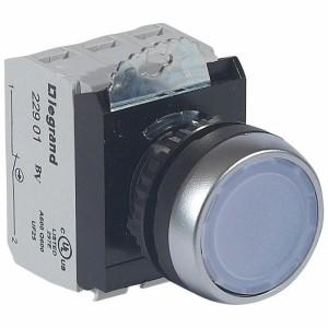 Bouton lumineux à impulsion affleurant IP69 Osmoz complet - blanc - 12V à 24V alternatif ou continu LEGRAND