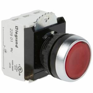 Bouton lumineux à impulsion affleurant IP69 Osmoz complet - rouge - 12V à 24V alternatif ou continu LEGRAND