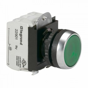 Bouton lumineux à impulsion affleurant IP69 Osmoz complet - vert - 12V à 24V alternatif ou continu LEGRAND