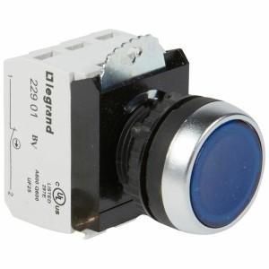 Bouton lumineux à impulsion affleurant IP69 Osmoz complet - bleu - 12V à 24V alternatif ou continu LEGRAND