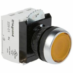 Bouton lumineux à impulsion affleurant IP69 Osmoz complet - jaune - 12V à 24V alternatif ou continu LEGRAND